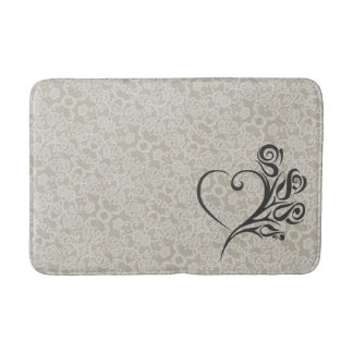 Lace Accent with Heart and Flowers Bath Mat