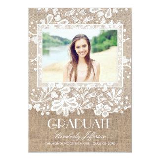Lace and Burlap Elegant Photo Graduation Party Card