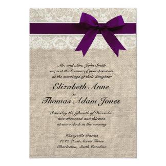 Lace and Burlap Rustic Wedding Invitation- Plum 13 Cm X 18 Cm Invitation Card