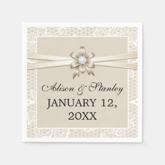 Lace border with beige ribbon & flower wedding disposable napkin