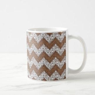 Lace Chevrons Against Rustic Burlap - Shabby Chic Coffee Mug