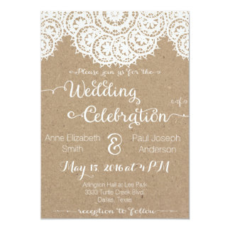 Lace Doilies Rustic Wedding Invitations
