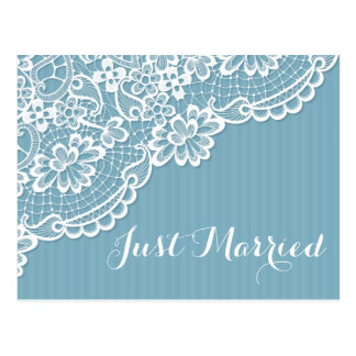 Lace Just Married Blue Stripe Wedding Announcement Postcard