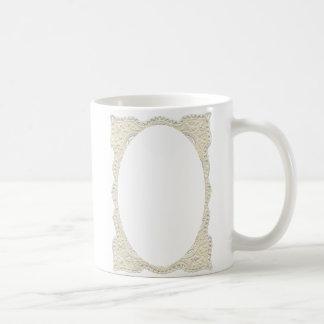 lace oval template coffee mug