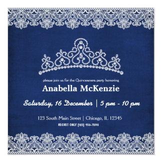 Lace Quinceanera (Blue) 13 Cm X 13 Cm Square Invitation Card