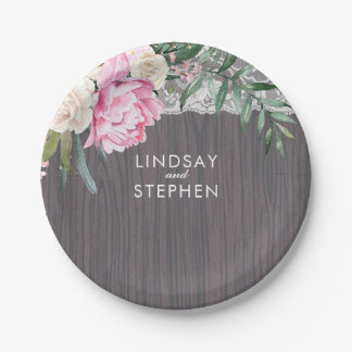 Lace Wood Vintage Pink Flowers Wedding Paper Plate