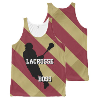 Lacrosse Boss M Crimson and Gold Striped All-Over Print Tank Top