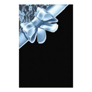 Lacy Black & Blue Bow Set Stationery