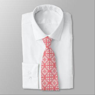 Lacy cutwork - white over azalea pink tie