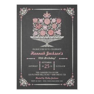 Lacy Flower Birthday Cake Chalkboard Invite 5x7