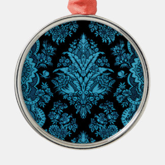Lacy Vintage Floral - Bright Aqua on Black Christmas Ornament