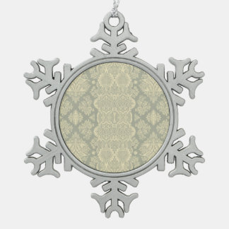 Lacy Vintage Floral Yellow and Gray Snowflake Pewter Christmas Ornament