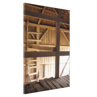 Ladder Loft & Rafters Old Barns Rural Photo Canvas Print