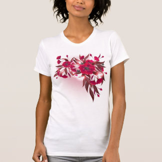 Ladie's T-shirt  with red flowers