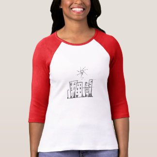 Ladies 3/4 Sleeve Raglan Fitted Urban Drawing T-Shirt