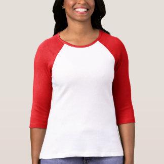 Ladies 3/4 Sleeve Raglan White/Red T-Shirt
