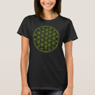 Ladies Black and Green Flower of Life T-shirt