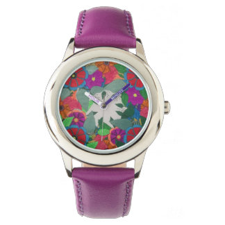 Ladies clock with flowers motive wristwatch