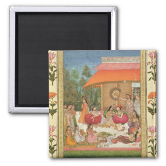 Ladies feasting, from the Small Clive Album Square Magnet