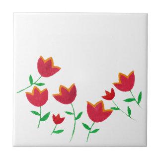 ladies red tulip flower small square tile