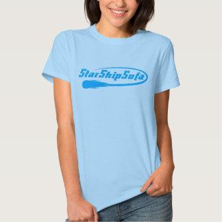 Ladies StarShipSofa Text Cyan on Pink T-shirts