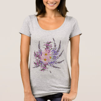 Ladies t-shirt grey with Folk flowers