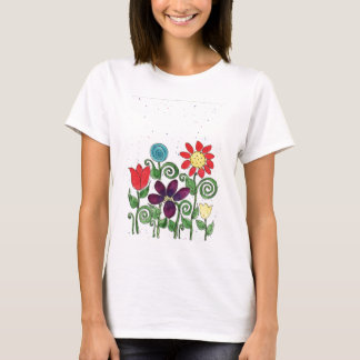 Ladies T - Stemmed Flowers - Watercolor T-Shirt