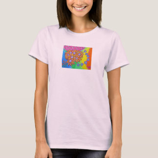 Ladies tee - flower and colors in the moment