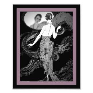 Lady and Dragon Art Deco Print Photo Print