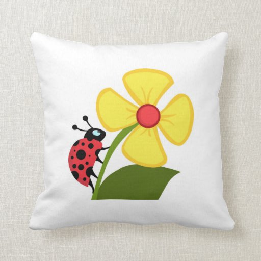 Lady Beetle On A Flower Throw Pillows
