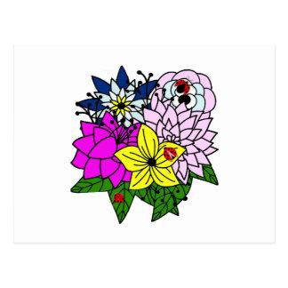 Lady Bug Flower Bouquet Postcard
