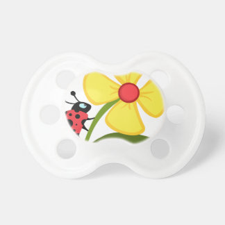 Lady Bug on Yellow Flower Pacifier