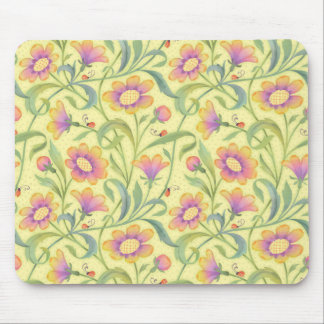lady bugs and flowers Yellow Mouse Pad