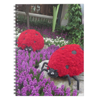 Lady BUGS n pink FLOWERS Butterfly Garden Gifts Spiral Note Books