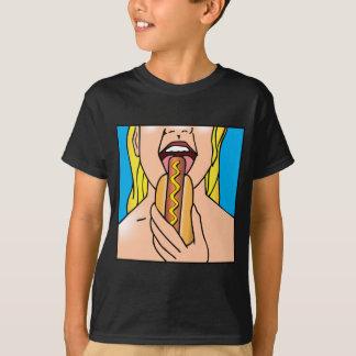 Lady Eating Hot Dog T-Shirt