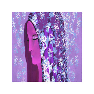 Lady Fair on Pink, Blue,Lavender & Purple by Lin Canvas Print