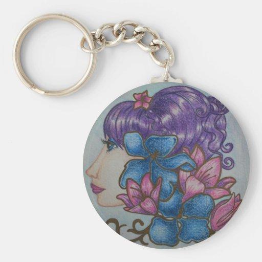lady flowers keychains