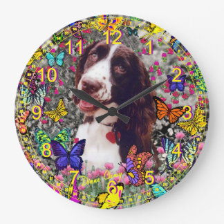 Lady in Butterflies  - Brittany Cocker Spaniel Large Clock