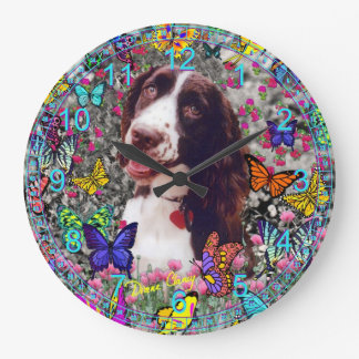 Lady in Butterflies  - Brittany Spaniel Dog Large Clock