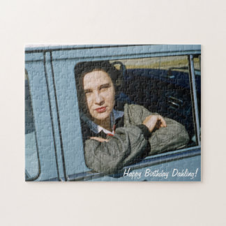 Lady in Car Retro Happy Birthday Dahling Diva Jigsaw Puzzle