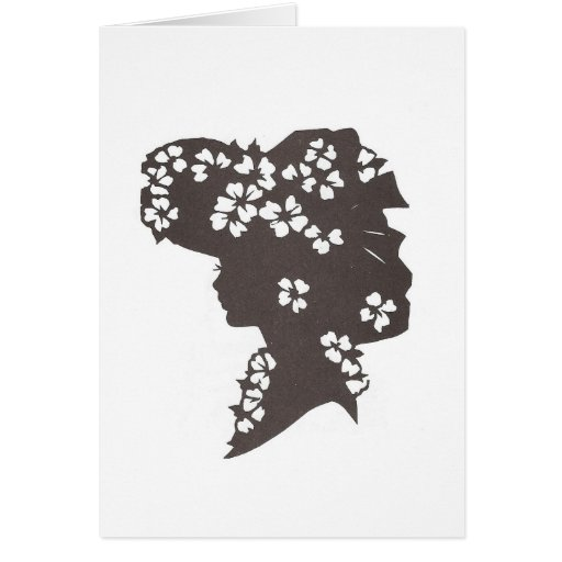 Lady in flowered hat greeting cards