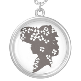 Lady in flowered hat round pendant necklace