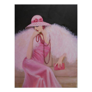 LADY IN PINK ART DECO POSTER