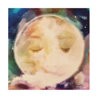 Lady in the moon wood canvas
