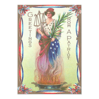 Lady Liberty Eternal Flame Scales of Justice 13 Cm X 18 Cm Invitation Card