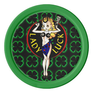 Lady Luck Set Of Poker Chips