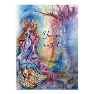 LADY OF LAKE vibrant blue pink metallic silver Personalized Invitation