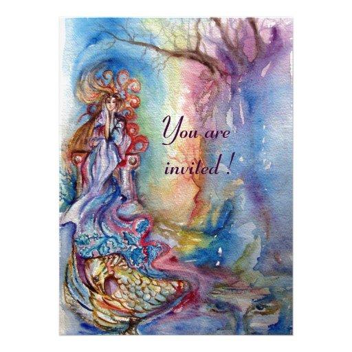 LADY OF LAKE , vibrant blue pink metallic silver Personalized Invitation