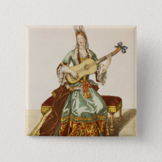 Lady of Quality Playing the Guitar, fashion plate, 15 Cm Square Badge