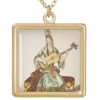 Lady of Quality Playing the Guitar, fashion plate, Gold Plated Necklace